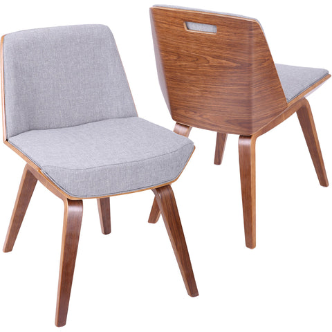 Corazza Mid-Century Modern Accent / Dining Chair with Grey Fabric, Walnut