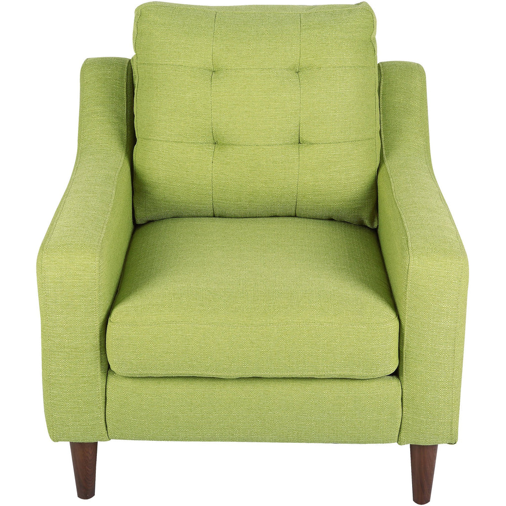 Maverick Mid Century Modern Accent Chair Upholstered Green Fabric