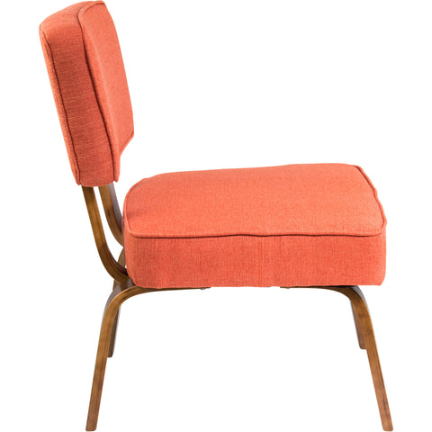 Nunzio Mid-Century Modern Accent Chair, Deep Orange Fabric