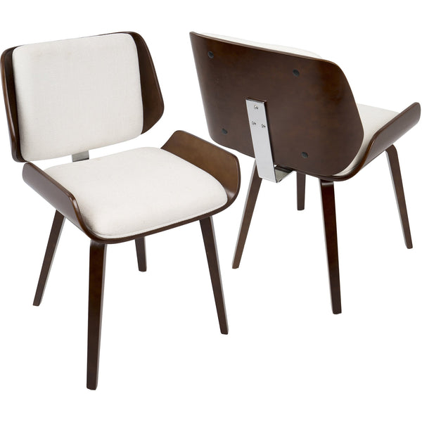 Santi Mid-Century Dining Chairs with White Fabric, Cherry (Set of 2)