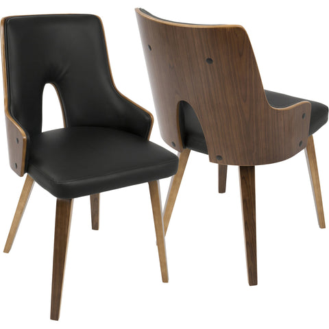 Stella Mid-Century Modern Dining Chairs with Black PU, Walnut (Set of 2)
