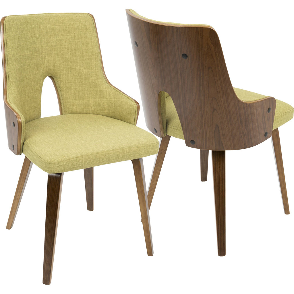 Stella Mid Century Modern Padded Chairs, Walnut U0026 Green (Set Of 2)