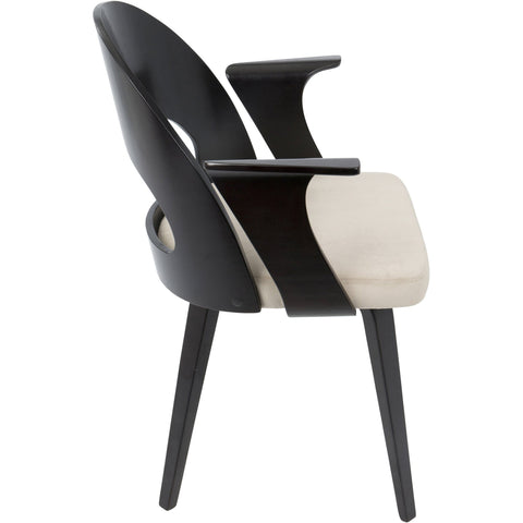 Verino Mid-Century Modern Dining Chair, Espresso & Light Brown Velvet