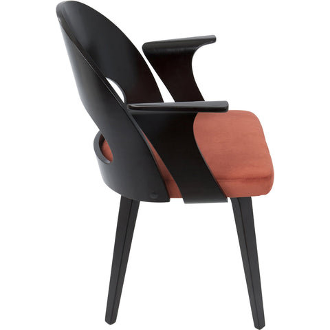 Verino Mid-Century Modern Dining Chair, Espresso & Orange Velvet