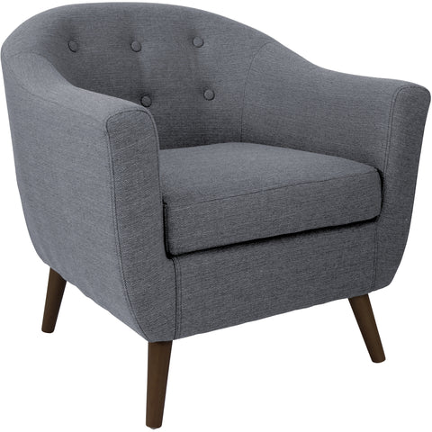 Magnolia Accent Chair with Solid Wood Legs, Mist Geo Sand Fabric