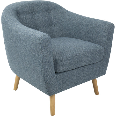 Rockwell Mid-Century Modern Noise Fabric Chair, Blue