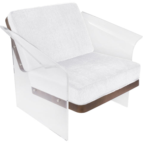 Float Chair, White Mohair Fabric, Walnut Wood & Clear Acrylic
