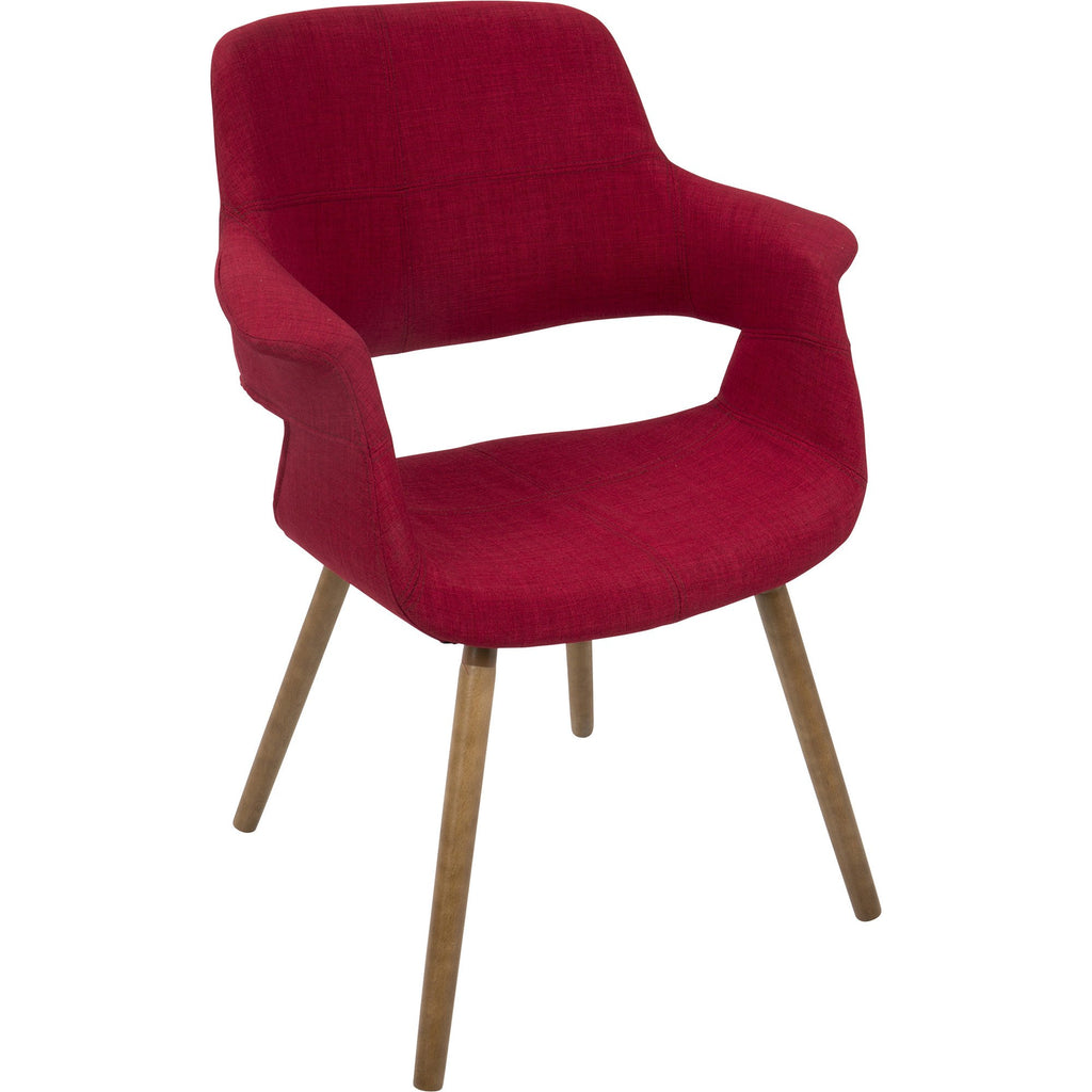 Vintage Flair Mid Century Modern Dining / Accent Chair, Red