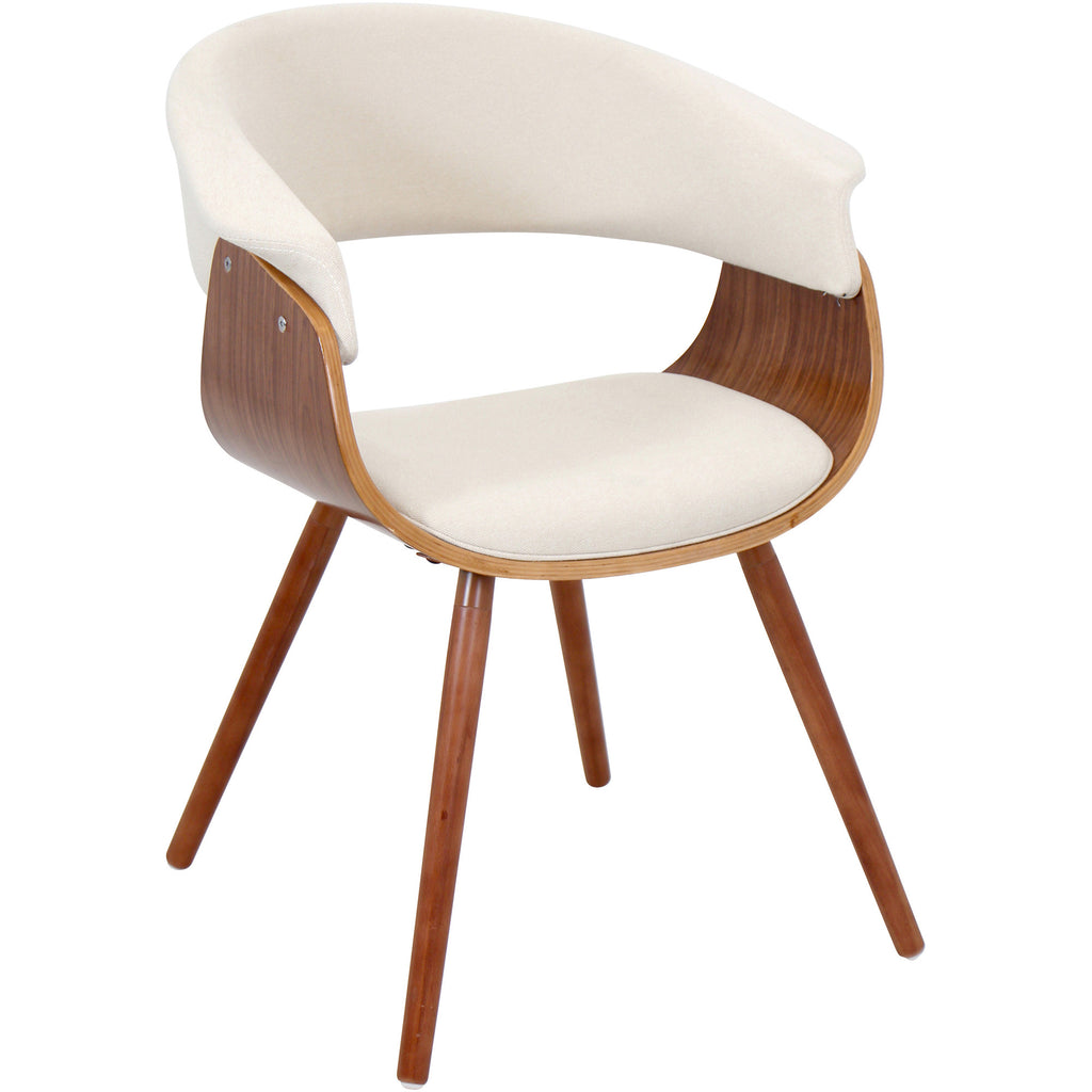 Stupendous Vintage Mod Accent Chair Walnut Cream Ncnpc Chair Design For Home Ncnpcorg
