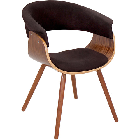 Curves Hour Glass Accent Chair with Espresso Legs, Chocolate Velvet