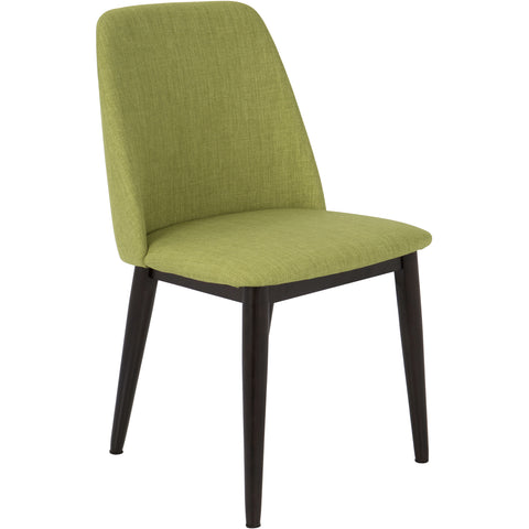 Tintori Mid-Century Dining Chairs, Brown Wood & Green Fabric (Set of 2)
