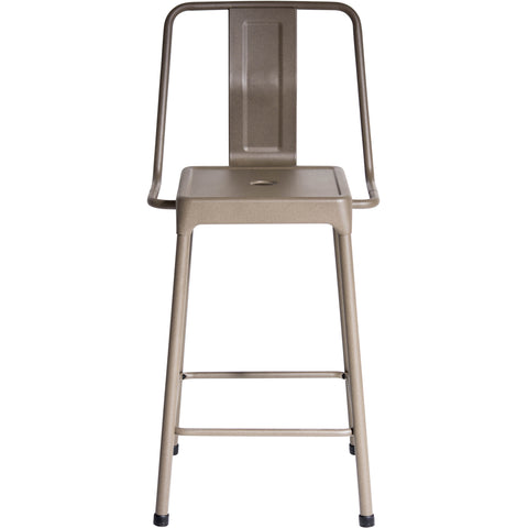 Industrial Style Energy Counter Stools, Cappuccino Finish (Set of 2)