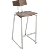 Flight Contemporary Stainless Steel Counter Stools, Walnut Wood (Set of 2) - etriggerz.com