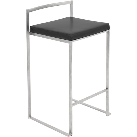 Fuji Stacker Counter Stool (Set of 2), Black