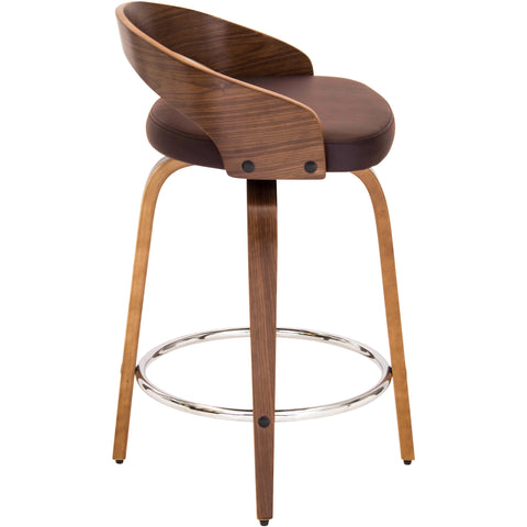 Grotto Mid-Century Modern Counter Stool, Walnut Wood & Brown PU Leather