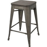 Oregon Stackable Counter Stools, Antique Frame & Espresso Wood (Set of 2) - etriggerz.com