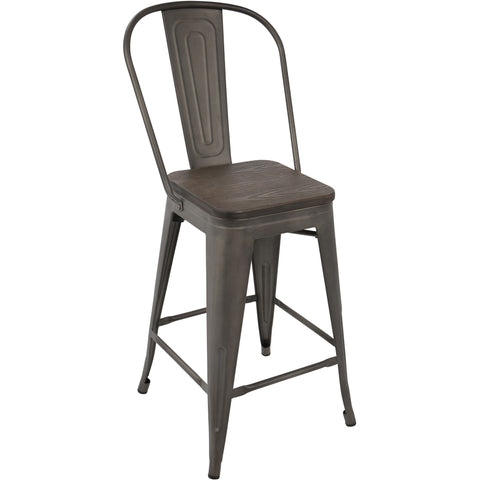 Oregon High-Back Counter Stools, Antique Frame & Espresso Wood (Set of 2)