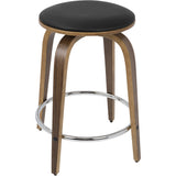 Porto Mid-Century Counter Stools with Chrome Footrest, Walnut & Brown (Set of 2) - eTriggerz.com