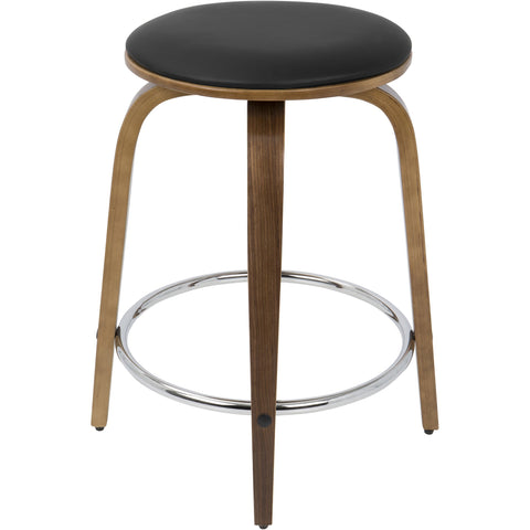 Porto Mid-Century Counter Stools with Chrome Footrest, Walnut & Brown (Set of 2)