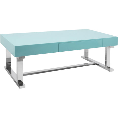 Luster Contemporary Coffee Table, Light Blue & Chrome