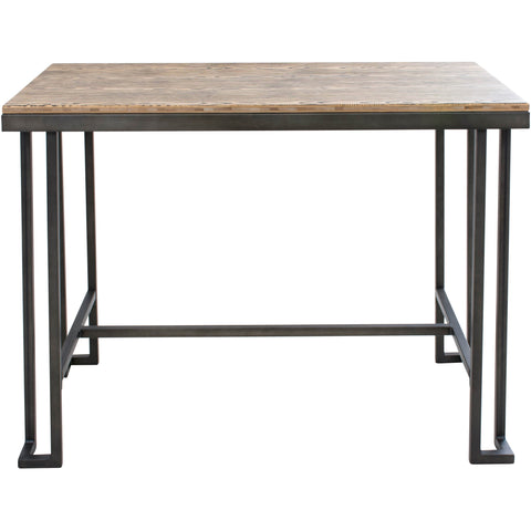 Roman Industrial Counter Table, Wooden Top & Antique Frame