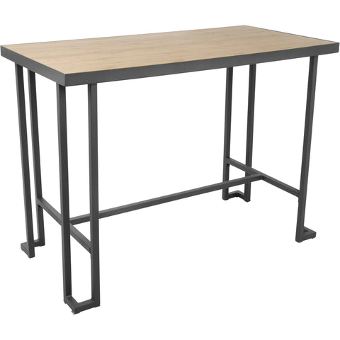Roman Industrial Counter Table, Grey Metal & Natural Bamboo