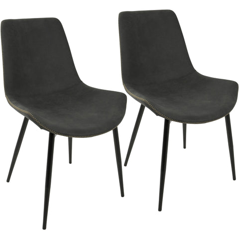 Duke Industrial Dining Chairs, Black & Grey (Set of 2)