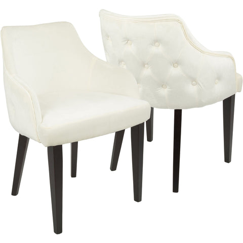 Eliza Contemporary Dining Chairs with Cream Velvet, Espresso (Set of 2)