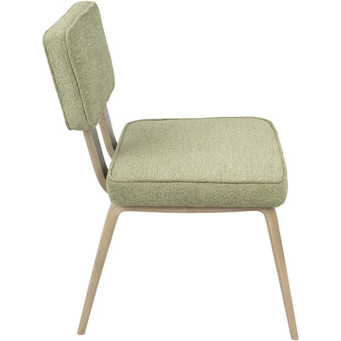 Nunzio Mid-Century Dining Chairs with Light Green Fabric, Light Grey (Set of 2)