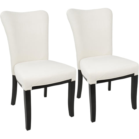 Olivia Contemporary Dining Chairs, Espresso Wood & Cream Velvet (Set of 2)