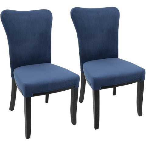 Olivia Contemporary Dining Chairs, Espresso Wood & Navy Blue Velvet (Set of 2)