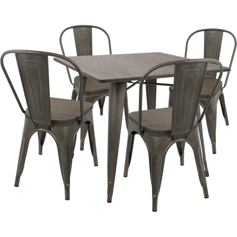 Oregon 5pc Industrial Farmhouse Dining Set, Antique & Espresso