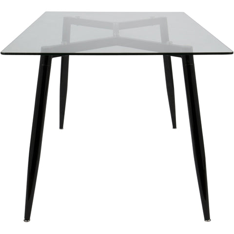 Clara Mid-Century Modern Dining Table, Black & Clear