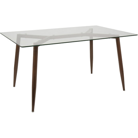 Clara Mid-Century Modern Dining Table, Walnut & Clear