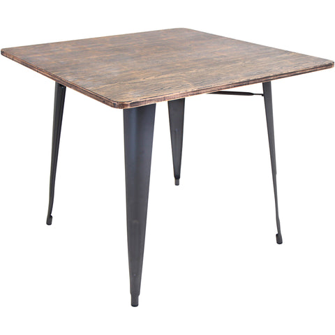 Trilogy Mid-Century Modern Dining Table, Walnut & Glass