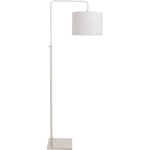 Apollo Floor Lamp, Brushed Nickel/Grey Shade