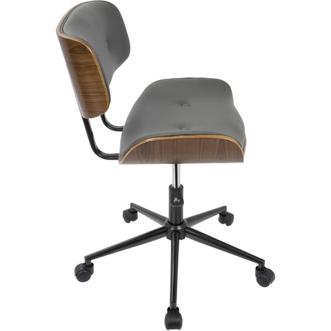 Lombardi Height Adjustable Office Modern Chair with Swivel, Walnut & Grey