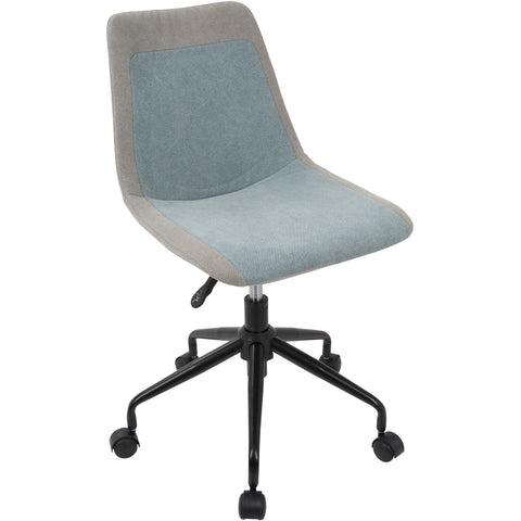Orzo Height Adjustable Office Task Chair, Grey & Blue Denim