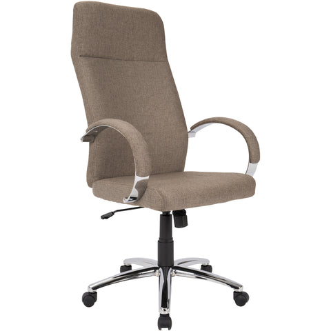 Ambassador Contemporary Office Chair, Brown Fabric