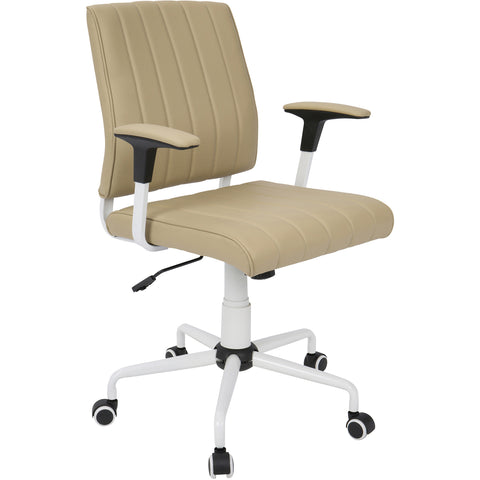 Cache Contemporary Office Chair, White Metal & Cashmere