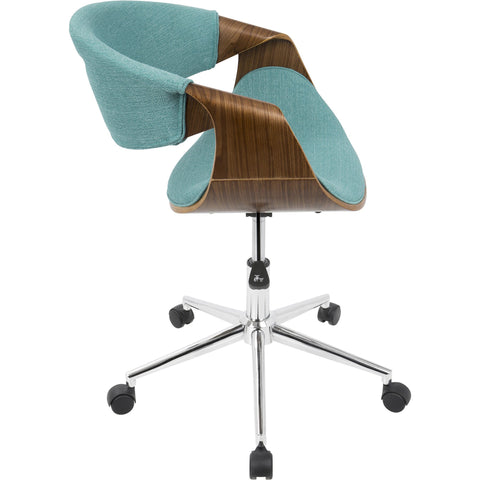Curvo Mid-Century Modern Office Chair, Walnut & Teal