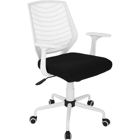 Network Height Adjustable Office Chair with Swivel, White/Black