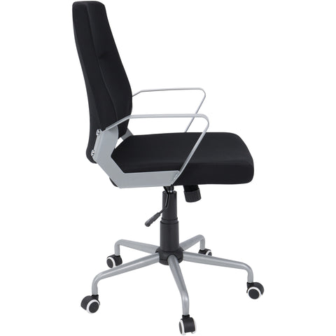 Zip Contemporary Office Chair, Black Fabric & Silver Metal