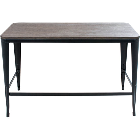 Pia Espresso Wood Top Desk, Black