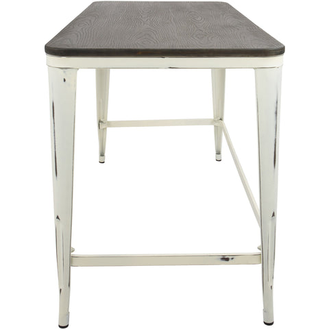 Pia Industrial Desk with Espresso Top, Vintage Cream