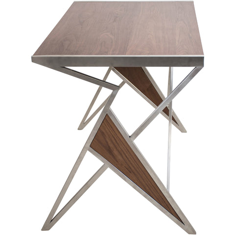 Tetra Contemporary Desk, Walnut Wood & Stainless Steel