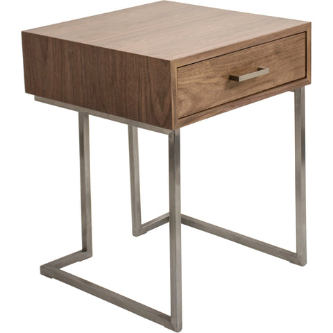 Roman Contemporary End Table, Walnut Wood & Stainless Steel