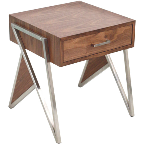 Tetra Contemporary End Table, Walnut Wood & Stainless Steel