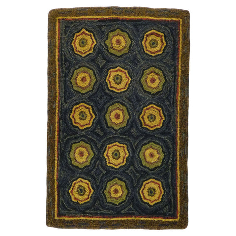 Lilly Pad Hooked Wool Rectangle Rug