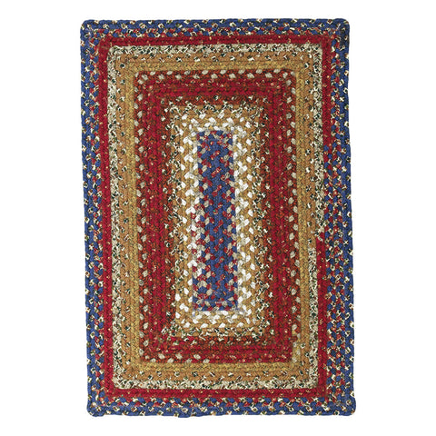 Log Cabin Step Braided Cotton Rectangle Rug